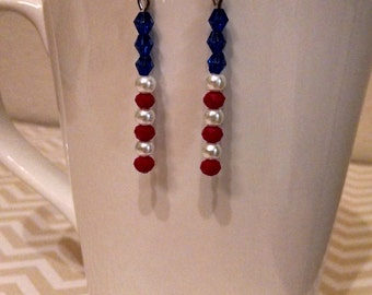 Red, white & blue USA - drop dangle patriotic earrings