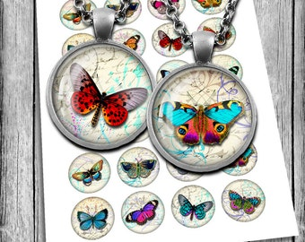 Vintage Butterflies Circle Images 1 inch, 1.5 inch, 30mm, 25mm for Glass Pendants, Bottle caps Printable Images Digital Collage Sheet