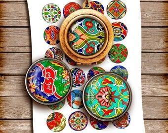 Folk Art Circles 1 inch, 25mm, 30mm, 1.5 inch Printable images for Bottle caps, Pendants  Digital Collage Sheet Instant Download