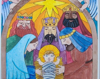 """Print of an original watercolor painting - """"The Nativity"""" 10 1/2"""" x  13 3/8"""""""