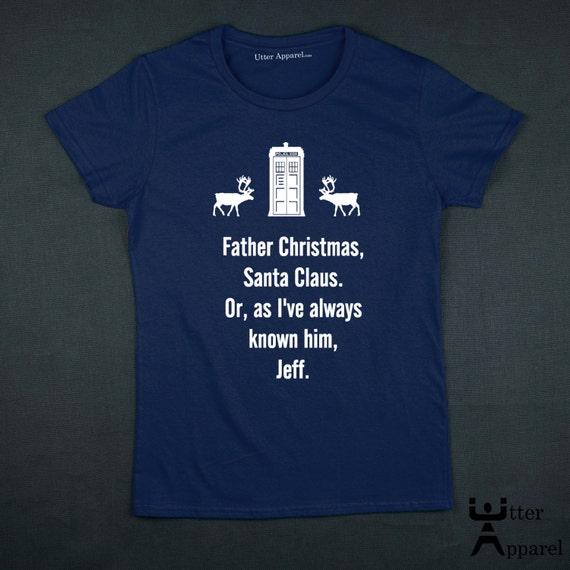 Dr Who Christmas tee t shirt. Christmas t-shirt Christmas Gift Whovian (a fan of Dr Who), white print