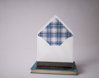 plaid lined envelopes (12 pattern options) - sets of 10