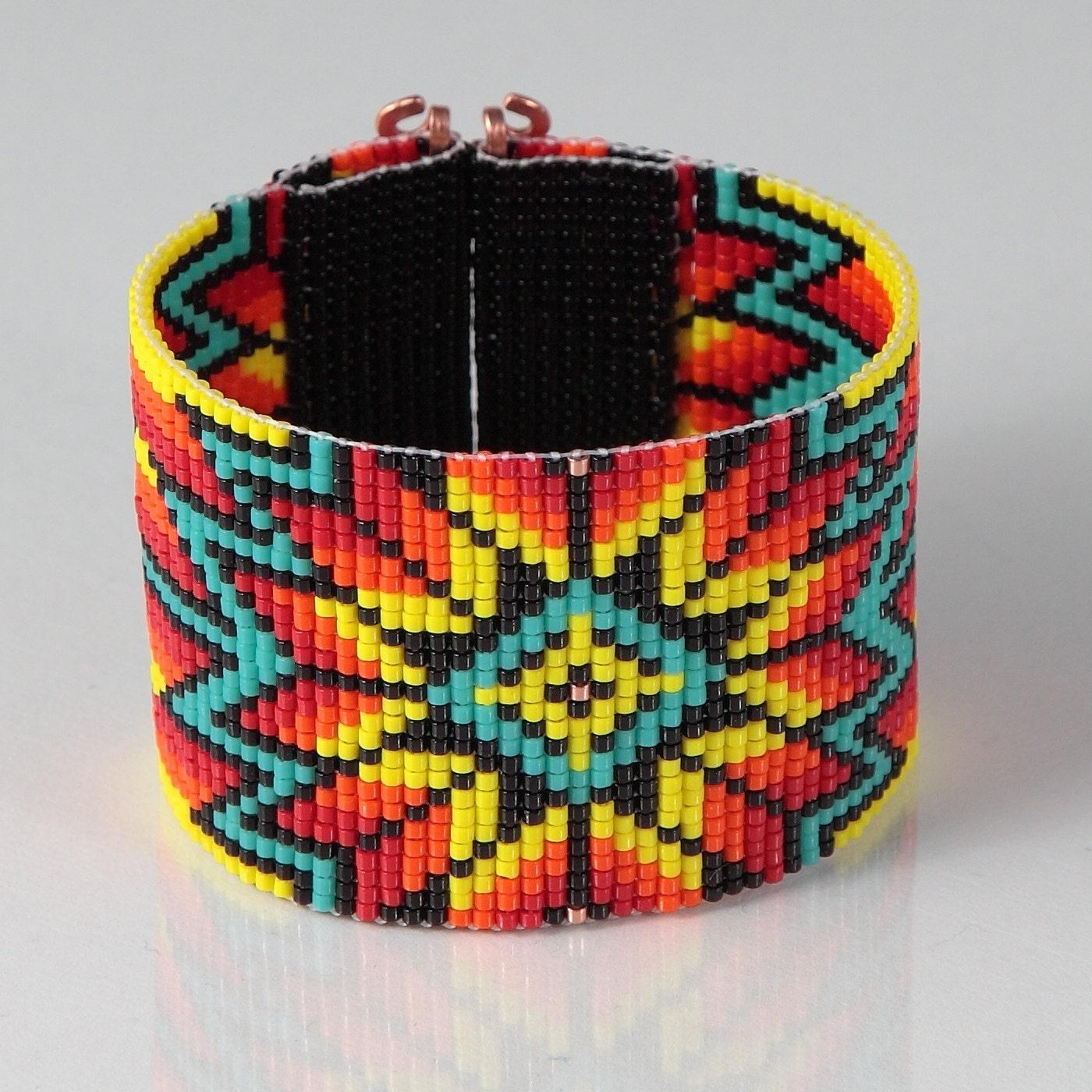 Rainbow Suburst Wide Cuff Bead Loom Bracelet By Puebloandco