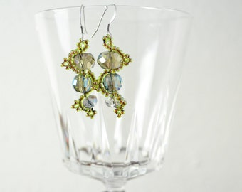 Bead Woven Earrings, Bead Weaving Earrings, Bead Weaving Jewelry, Serpentine Earrings, Seed Bead Earrings, Bead Weave Earrings