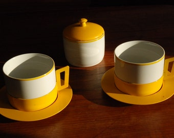 Mid Century Yellow  Monopoli 2 cups & 2 saucers plus sugar bowl