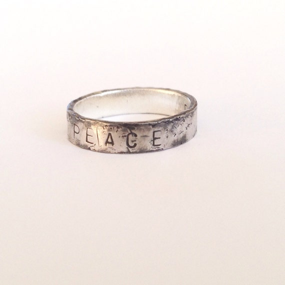 Peace Ring - Oxidised Silver Ring - Distressed Rustic Texture - Personalised Word Ring