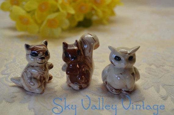 3 White Ceramic Animal Figurines Owl Chipmunk Squirrel Hand