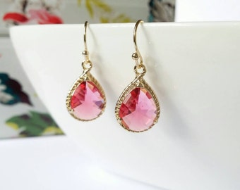 Pink earrings, pink drop earrings, pink dangle earrings, pink and gold earrings, everyday earrings, elegant earrings, gift for her