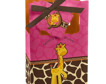 12 Girl Giraffe Favor Boxes - Custom Baby Shower and Birthday Party Supplies