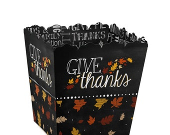 Give Thanks Candy Boxes - Personalized Favor Boxes for a Thanksgivng Party - Set of 12
