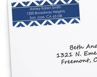 30 Navy Blue Chevron Address Labels - Personalized Return Address Sticker