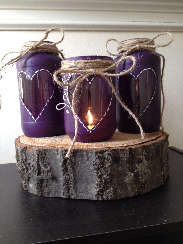 Purple wedding centerpiece rustic bridal