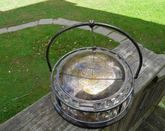 Antique 93S (Silverplate) by Crescent Silverware, Glass Bowl with Lidded Caddy