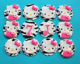 Items similar to ZEBRA print Hello Kitty birthday ...