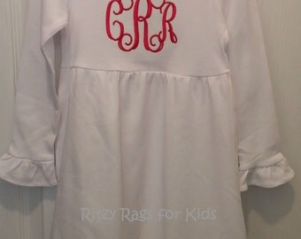 Valentine's Day Girls White Long Sleeve Empire Waist Ruffle Dress with Red Interlocking Monogram