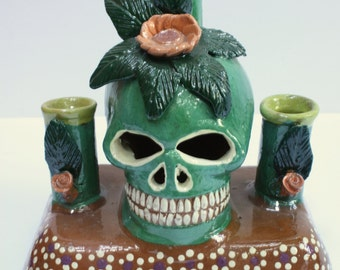 Price Reduced:  Skull candelabra - ceramic from Mexico, Day of the Dead, Dia de Muertos, holds 3 candles