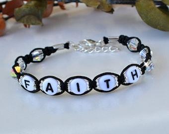 Faith. Love, Hope, Knotted Crystal Friendship Bracelet