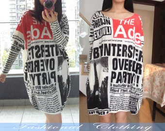 newspaper loosen dress plus T-shirt spring autumn dress women clothing women dolman sleeve dress long sleeve dress top
