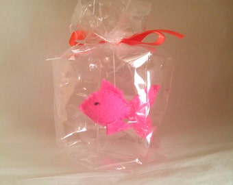Pink spiky fish - The Ultimate Pet, Fish in a bag, vegan.