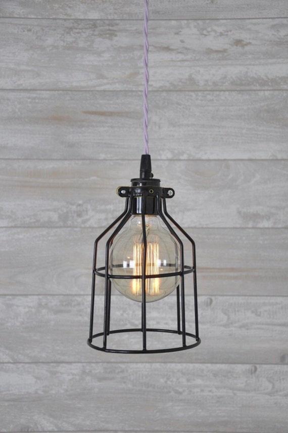 metal bulb guard cage lavender hanging pendant light lamp. Black Bedroom Furniture Sets. Home Design Ideas