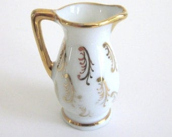 Limoges France White Porcelain Pitcher w Gold Accents ~ Collectible Miniature Limoges China ~ Limoges White w Gold Creamer