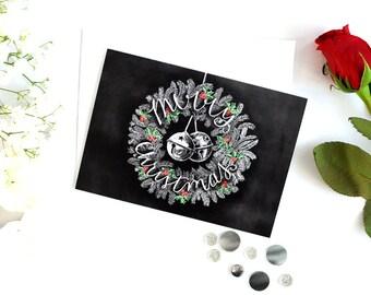 Christmas Card, Christmas Card Set, Merry Christmas, Christmas Wreath, Chalkboard Card, Holly, Holiday Card, Chalk Art, Chalkboard Art