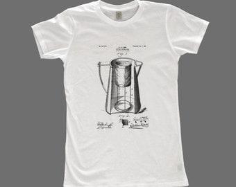 women's patent drawing t-shirt, screen printed t-shirt, alternative apparel t-shirt, COFFEE PERCOLATOR t-shirt, patent drawing