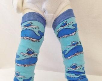 Whale Leg Warmers for baby--Whale baby leg warmers, nautical nursery, hipster baby boy leg warmers, nautical boy clothes, nautical