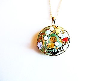 Carnival Jade Pendant Necklace - Vintage/Estate Item in Yellow Gold Base, Pearl and Semiprecious Stone Accents