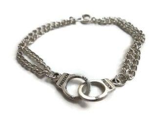 Silver Handcuff bracelet, friendship bracelet, best friend gift, quirky silver jewellery