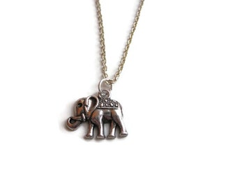 Elephant necklace, elephant charm, elephant pendant, animal jewellery, UK jewellery, UK Seller