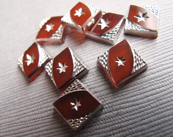 Vintage Silver and Carnelian Glass Square Flat Back Tiles (6) 8mm - C-21RP-20-A, Textured Tile WIth Silver Star