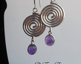 Healing & ReBirth ~ Authentic Natural Amethyst Gemstone Spiral Earrings 1 3/4""