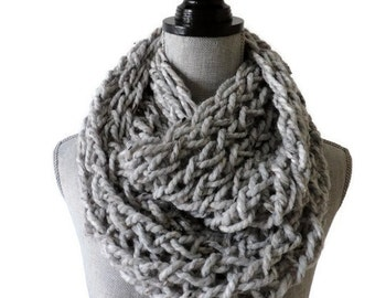 Chunky Infinity Scarf, Grey Scarf, Chunky Knit, Grey Marble Infinity Scarf, Grey Loose Knit Scarf - Pick Your Color Scarf