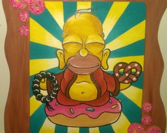 homer simpson  buddha painting