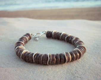 Coconut wood and silver chunky bracelet