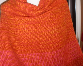 Vintage Handwoven by Ebba Orange & Red Wool Poncho