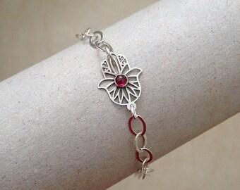 Sterling Silver Hamsa Bracelet , Hamsa Charm Bracelet , Judaica bracelet , Garnet gemstone , Protection bracelet