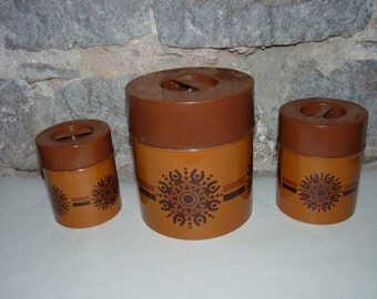 Set of 3 Danish kitchen tin canisters, 60's