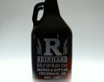 HomeBrew Growler with  Large Initial and Wheat Design. Homebrew, Beer, Beer Gift,  Beer Glass, fathers day gift