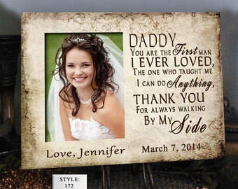 SIDE/DADDY Father of the Bride Gift Favorite Walk Bridal Wedding Frame Personalized Custom Bridal Frame Wedding Gifts for Dad Picture Frame