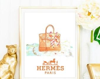 HERMES Birkin Bag Watercolor Artwork. Modern high fashion wall art. Stunning Home Décor.