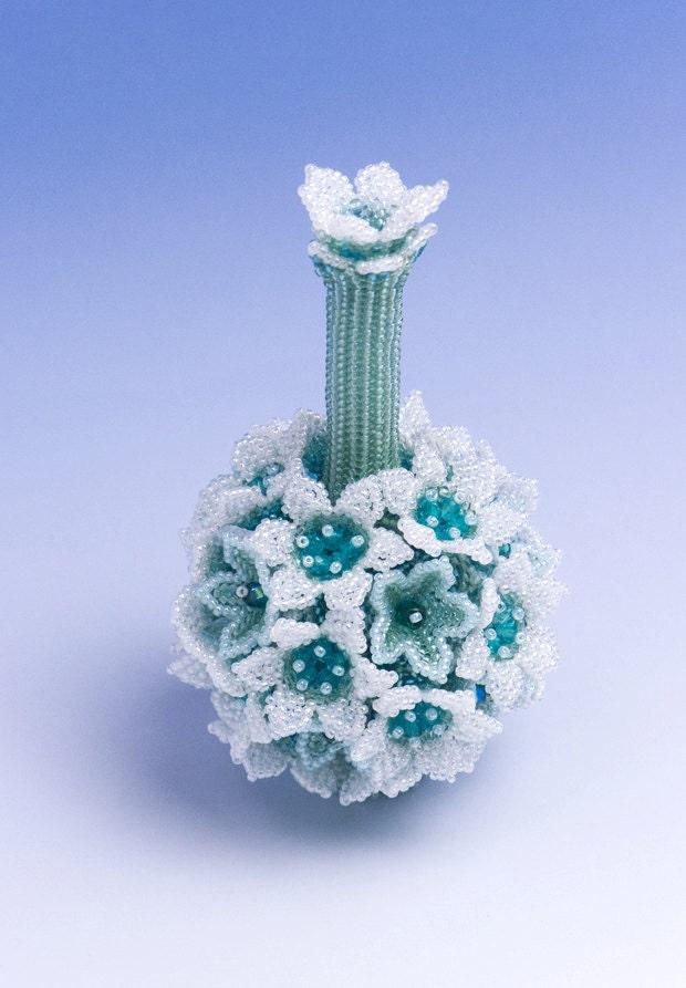 beaded flower ornament blue flower object home