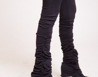 Black ruffle leggings, yoga pants, womens pants   sizes : XS / S / M / L / Xl
