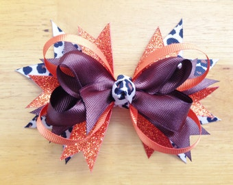 Brown and Orange Thanksgiving Stacked Boutique Bow