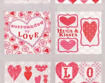Valentine Fabric Panel, Moda 19650 Gray, Surrounded by Love, Deb Strain, Heart Fabric Panel, Valentine Quilt Panel, Cotton, **Scant Edge