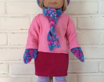 American Girl Doll clothing - hat, scarf and mittens