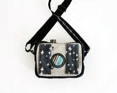 Cross body camera purse, fabric cross body hand bag, camera shaped messenger bag