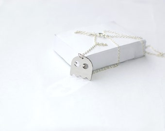 Pacman Necklace! Computer Video Game!  Sterling silver chain