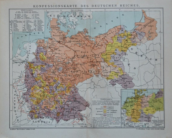 Religious belief map in Germany at the beginning of the 20th century.  Old book plate,1901.  113 years lithograph. 12'3 x 9'8  inches.